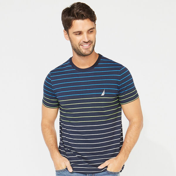 SHORT SLEEVE STRIPE TEE - Navy