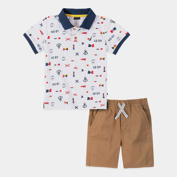 TODDLER BOYS' FLAG AND ANCHOR PRINT POLO 2PC SHORT SET (2T-4T) - Antique White Wash