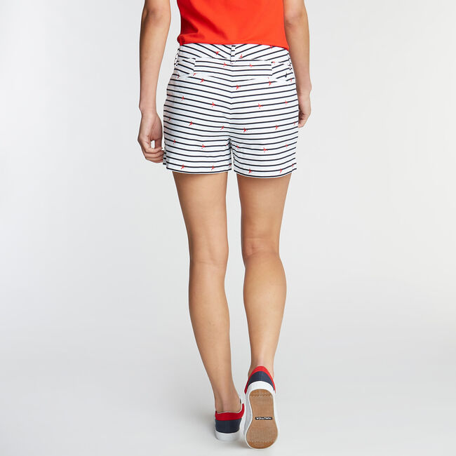CLASSIC FIT TWILL SHORT IN STRIPE & LOBSTER PRINT,Bright White,large