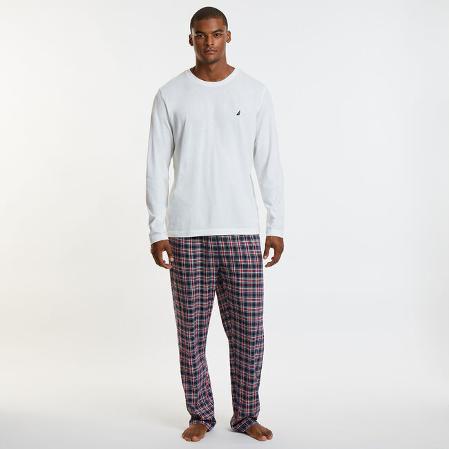 Knit + Woven Pajama Set - Tattersail Plaid,Marshmallow,large
