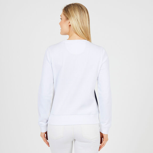 Long Sleeve Colorblock Pullover Sweatshirt,Bright White,large