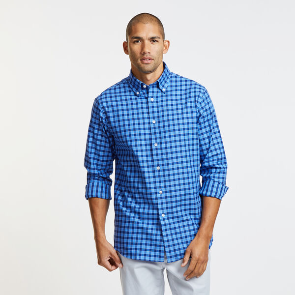 CLASSIC FIT SHIRT IN MARINE BLUE GINGHAM - South Beach Aqua