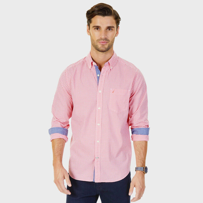 Poplin Classic Fit Gingham Button-Down Shirt,Dreamy Coral,large