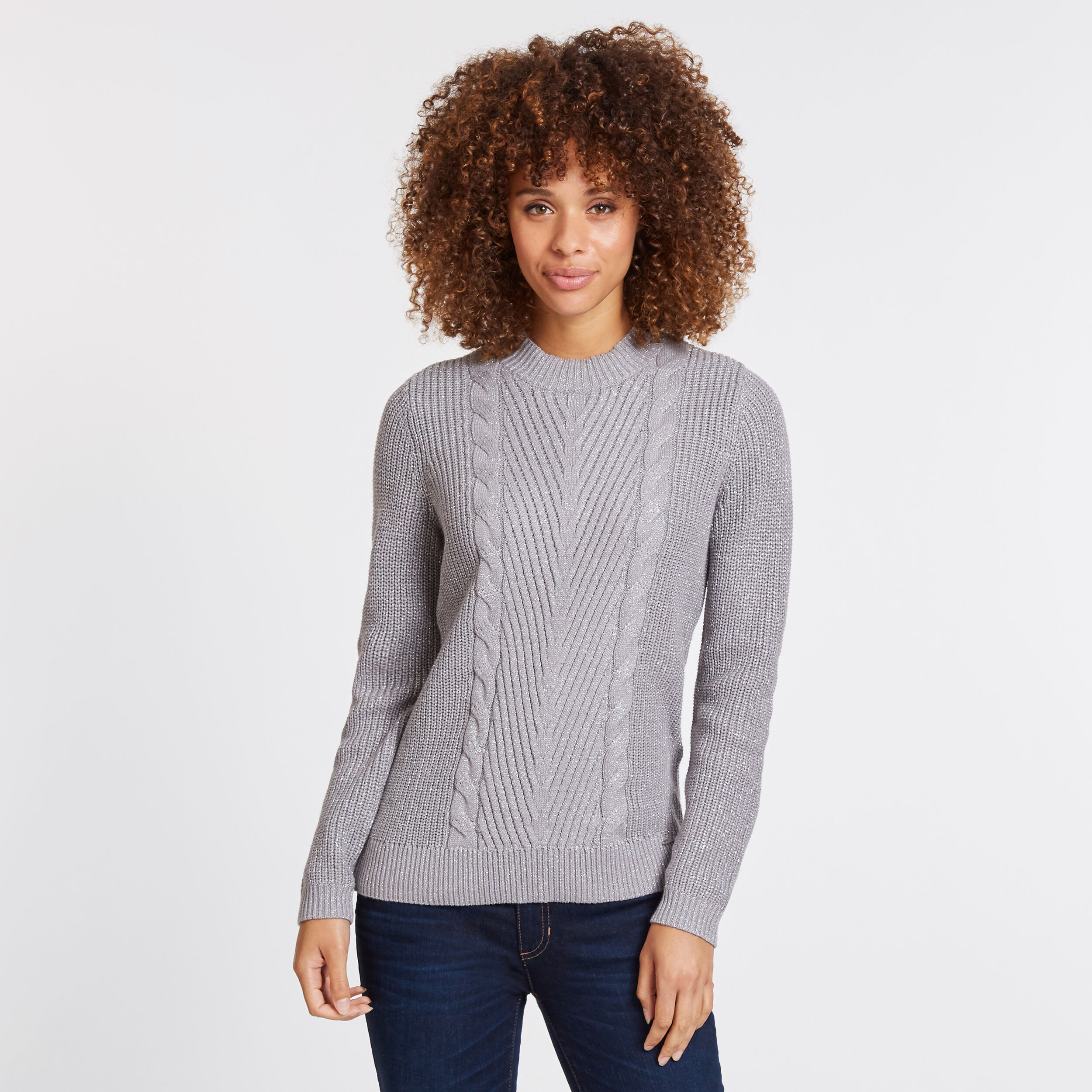Long Sleeve Cable Knit Crewneck Sweater
