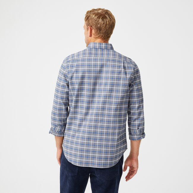 CLASSIC FIT PLAID OXFORD SHIRT,Pewter Grey,large