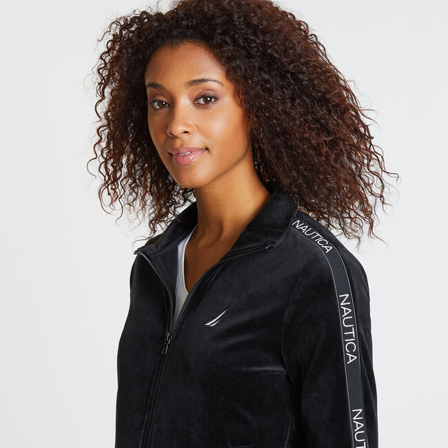 Velour Track Jacket ,True Black,large