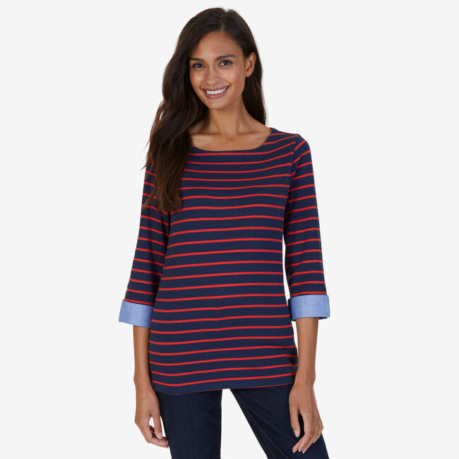 Striped Turnback Cuff Top,Deep Sea,large