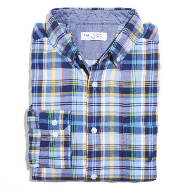 Twill Large Plaid Long Sleeve Classic Fit Shirt,Riviera Blue,large
