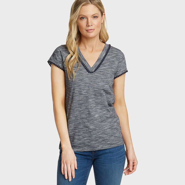 Stripe V-Neck Tunic Top,Stellar Blue Heather,large