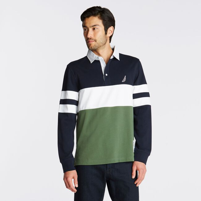LONG SLEEVE COLORBLOCK STRIPE RUGBY,Pure Dark Pacific Wash,large
