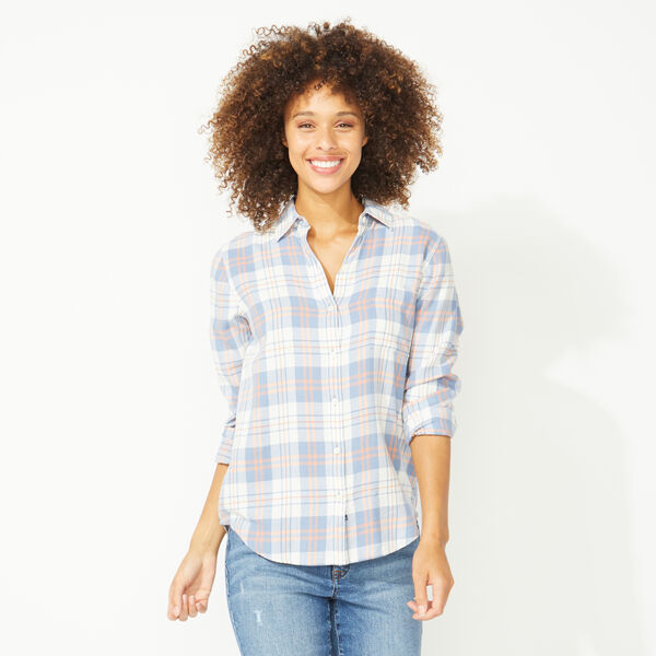 NAUTICA JEANS CO. PLAID BUTTON FRONT BOYFRIEND SHIRT - Charcoal Blue Heather