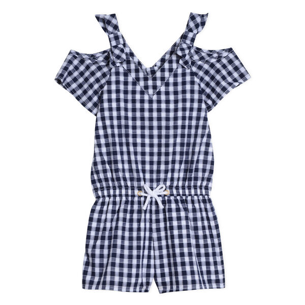 Girls' Cold Shoulder Romper in Gingham - Navy