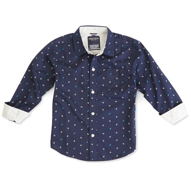 Boys' Printed Button-Down Shirt (8-20),Riviera Blue,large