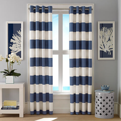 Cabana Stripe Cadet Curtain Panel Set - Admiral Blue