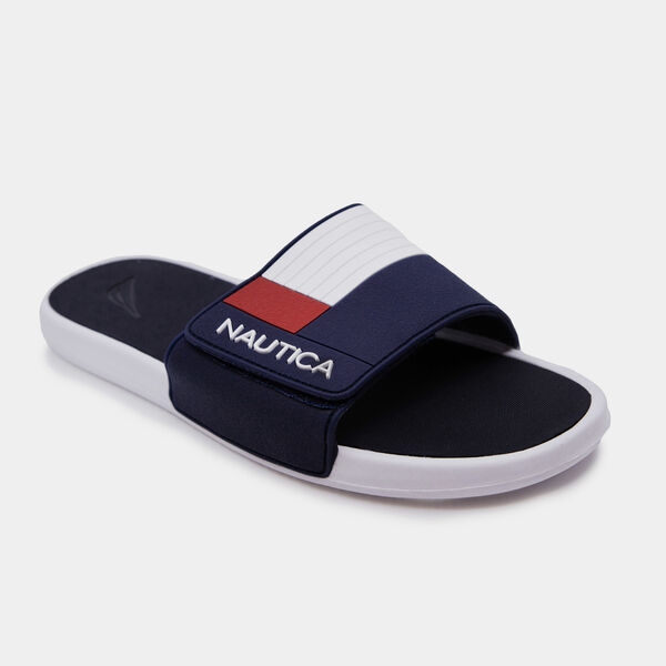 COLORBLOCK LOGO EMBOSSED SLIDE SANDALS - Navy