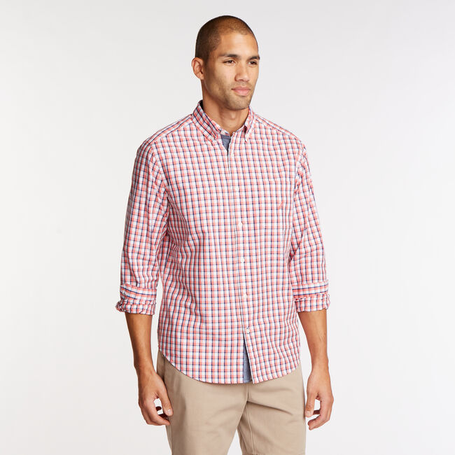 0a5042d0 Long Sleeve Classic Fit Shirt in Plaid,Spiced Coral,large