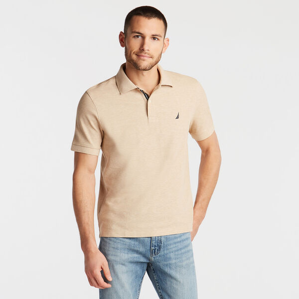BIG & TALL STRETCH MESH POLO - Camel Heather