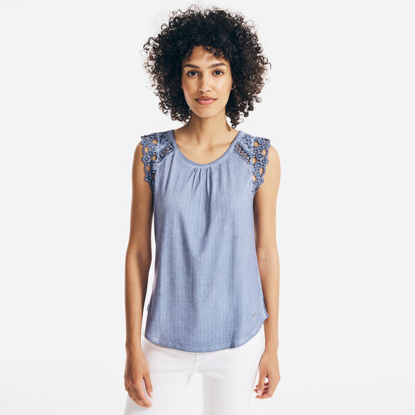 EMBROIDERED-CROCHET SLEEVE TOP - Angel Blue