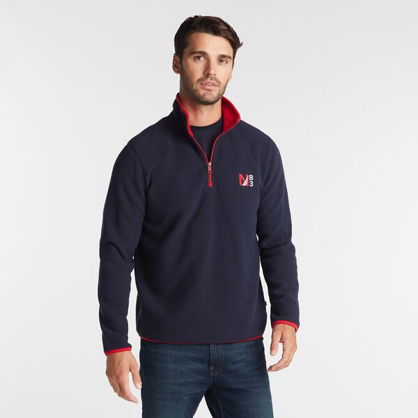 BIG & TALL QUARTER ZIP NAUTEX FLEECE PULLOVER - Navy
