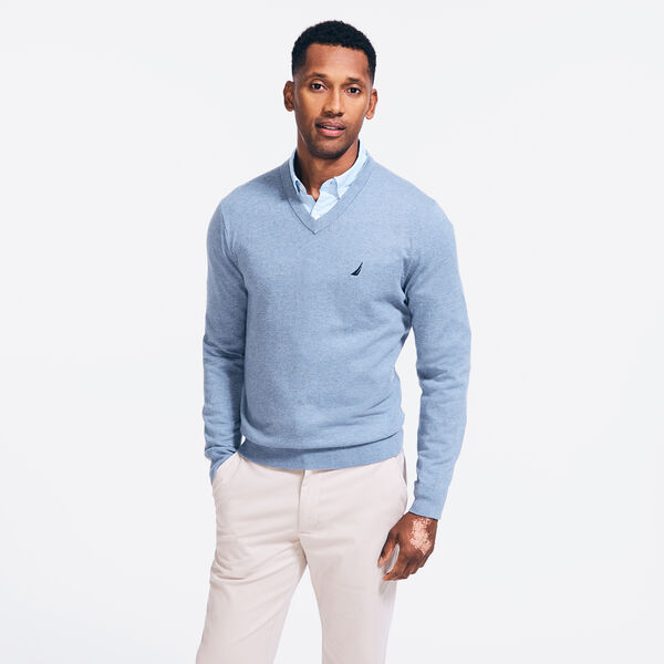 NAVTECH V-NECK SWEATER - Anchor Blue Heather