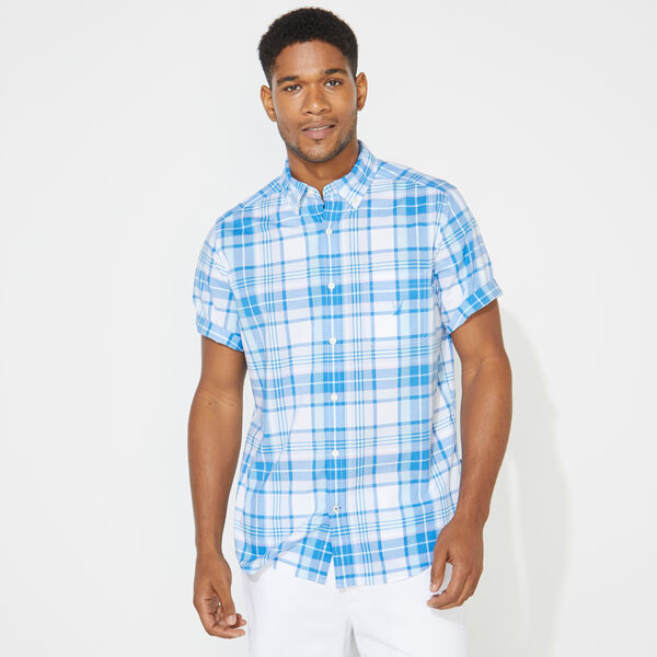 PLAID SHORT SLEEVE OXFORD  SHIRT - Alaskan Blue