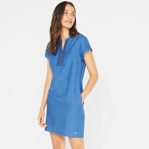 EMBROIDERED SPLIT NECK DRESS - Estate Blue
