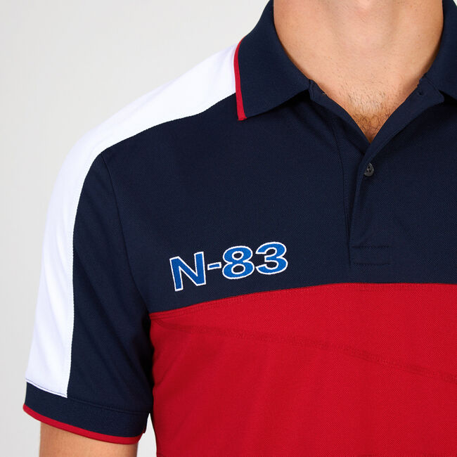 Chest Stripe Classic Fit Performance Polo,Navy,large