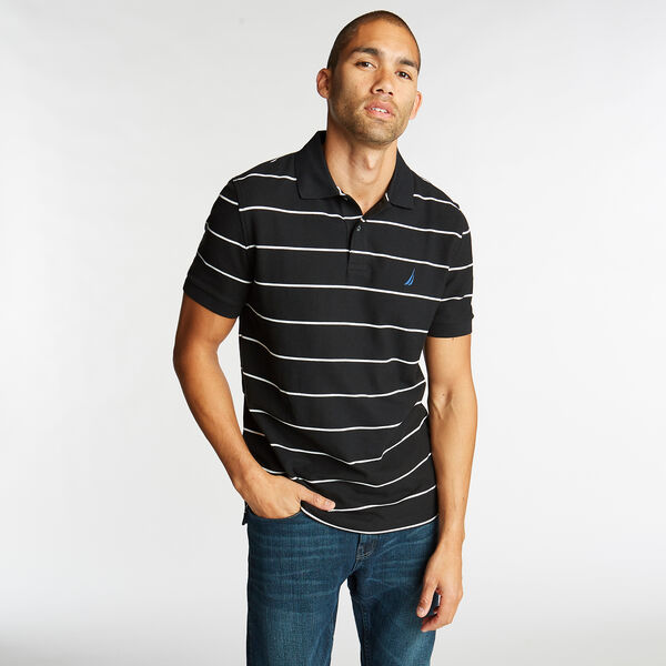 Classic Fit Striped Performance  Polo Shirt - True Black