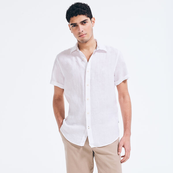 LINEN SHORT SLEEVE SHIRT - Bright White
