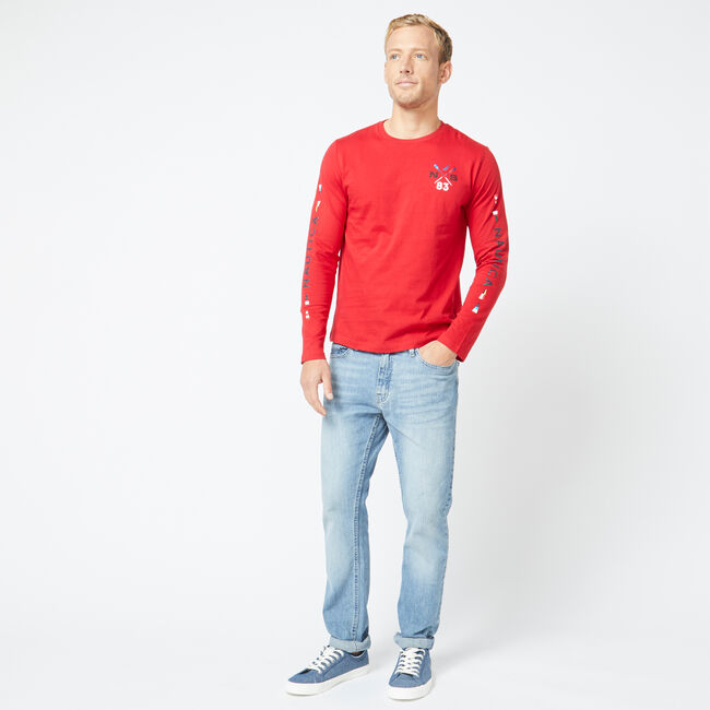 CROSSED OARS GRAPHIC T-SHIRT,Nautica Red,large