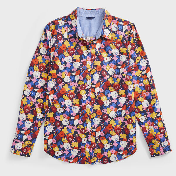 FLORAL PRINT POPLIN SHIRT - Stellar Blue Heather