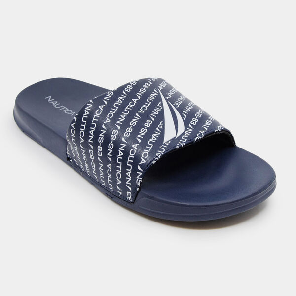 NAUTICA J-CLASS REPEAT LOGO SLIDE SANDALS - Ice Blue