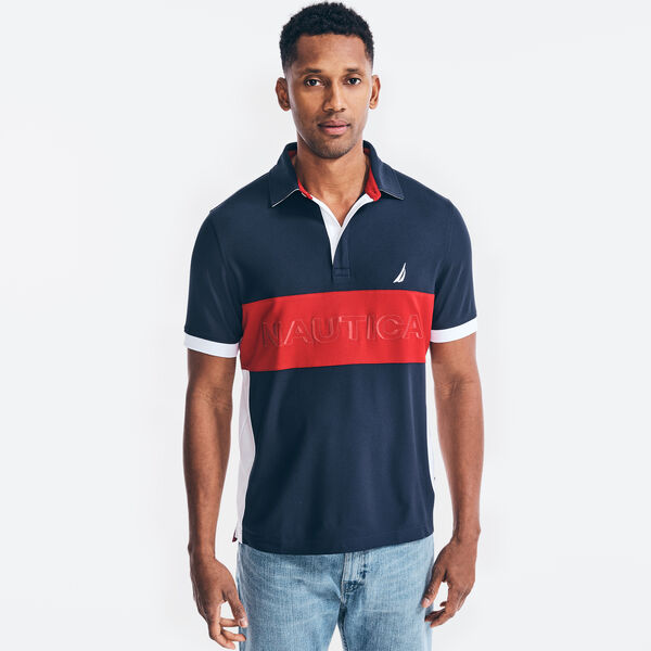 NAVTECH CLASSIC FIT COLORBLOCK LOGO POLO - Navy