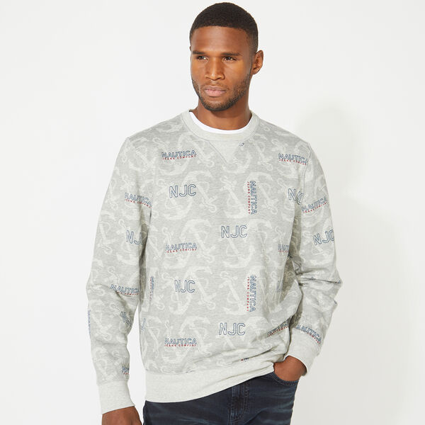 NAUTICA JEANS CO. ALL OVER PRINTED CREWNECK SWEATSHIRT - Grey Heather