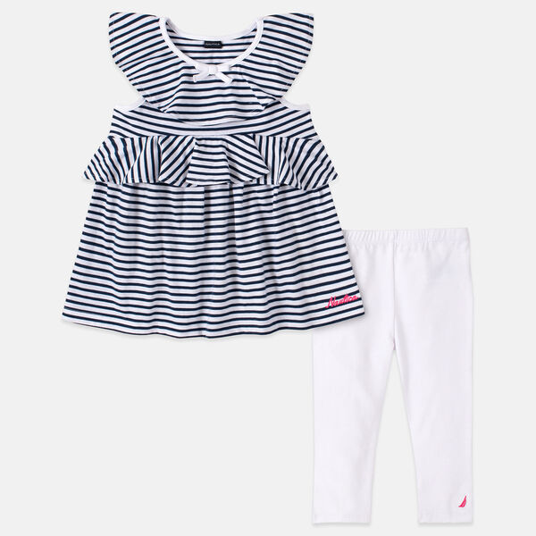 TODDLER GIRLS' RUFFLE STRIPED CAPRI 2PC SET (2T-4T) - Aquadream