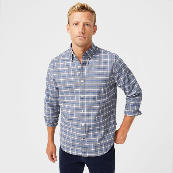 BIG & TALL CLASSIC FIT PLAID OXFORD SHIRT - Pewter Grey