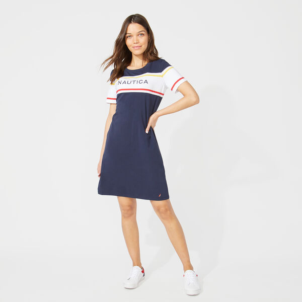 NAUTICA LOGO STRIPE KNIT DRESS - Stellar Blue Heather