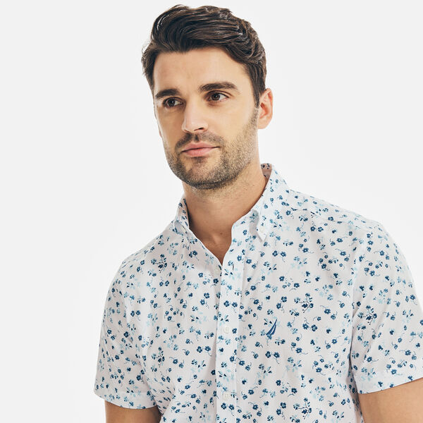 CLASSIC FIT STRETCH FLORAL PRINT SHIRT - Bright White