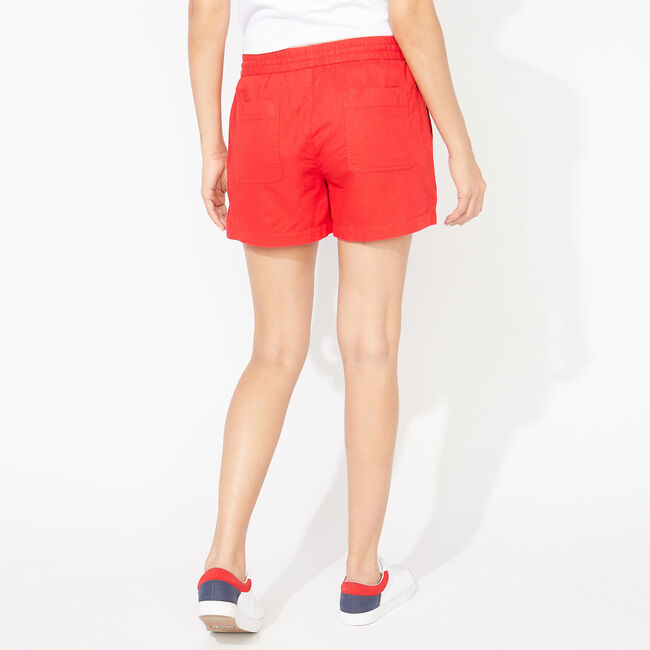 LINEN-BLEND SHORTS,Tomales Red,large