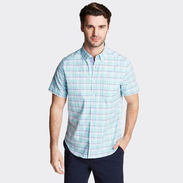CLASSIC FIT SHORT SLEEVE OXFORD SHIRT IN PLAID - Aqua Sky