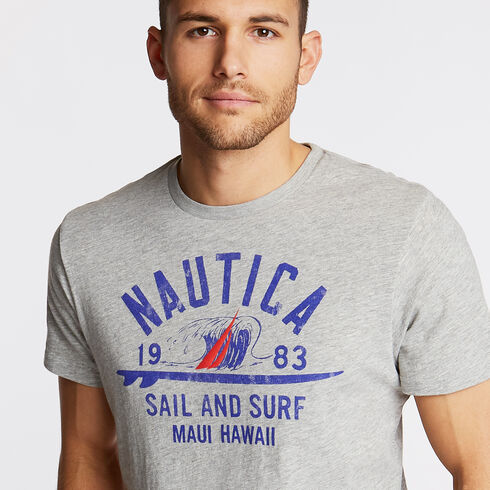 Sail & Surf Graphic Tee - Grey Heather