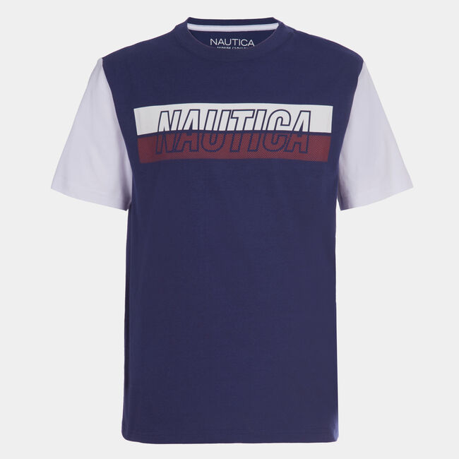 BOYS' COLORBLOCK SLEEVE GRAPHIC T-SHIRT (8-20),J Navy,large