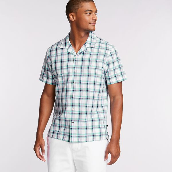 Linen Blend Camp Shirt in Woven Plaid - Bright White