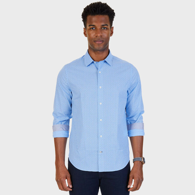 Dobby Slim Fit Button-Down Shirt,Blue Grass,large