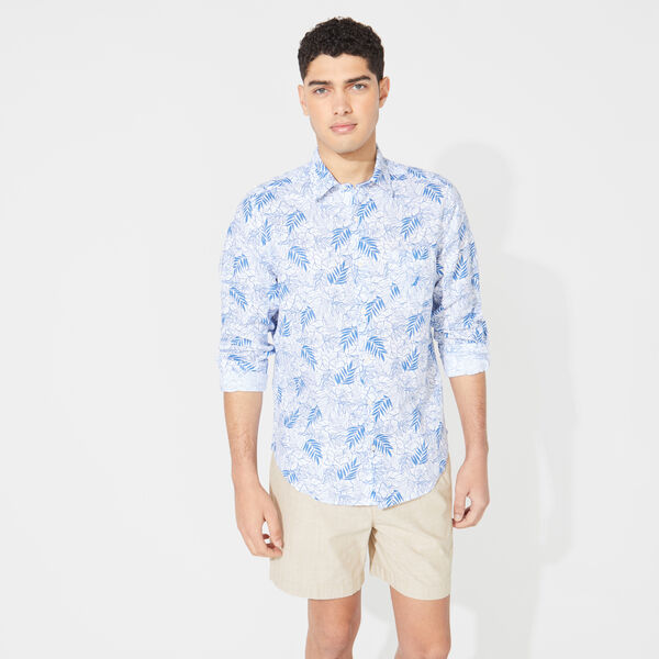 CLASSIC FIT FLORAL PRINT LINEN SHIRT - Bright White