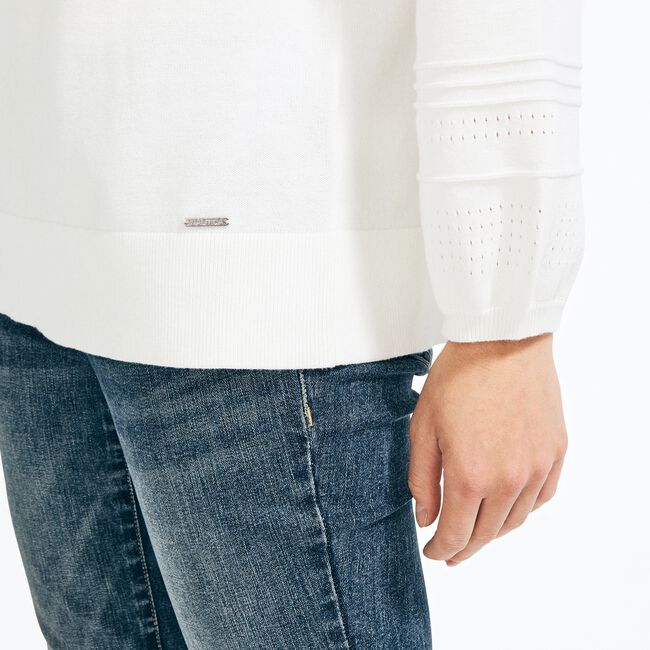 POINTELLE-KNIT BOAT NECK SWEATER,Marshmallow,large