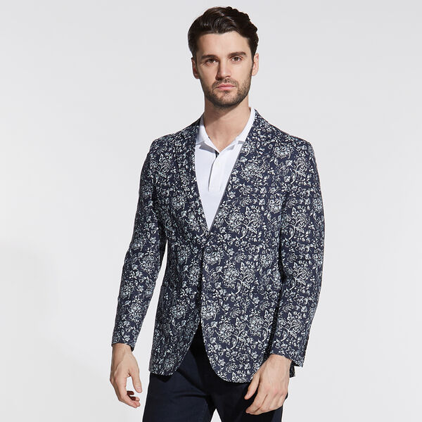 Jensen Linen Blend Jacket in Floral Print - Tugboat Blue