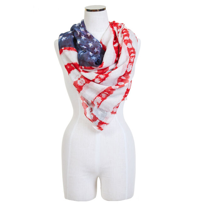 American Flag Scarf,White,large