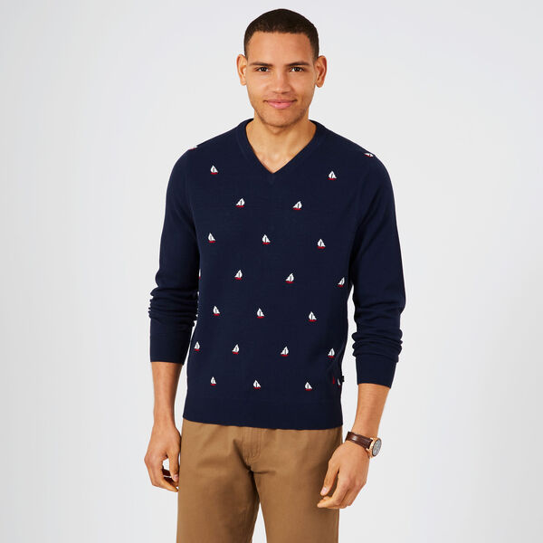V-Neck Sailboat Motif Sweater - Pure Dark Pacific Wash