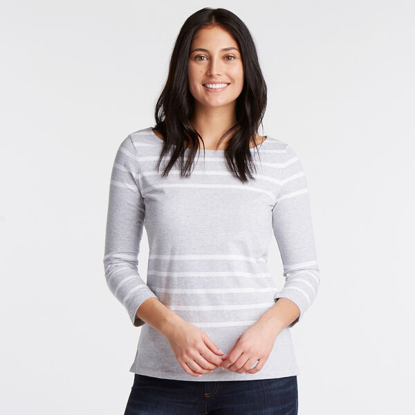 Boatneck Striped Long Sleeve Top - Gunmetal Grey